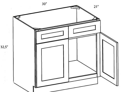 Cherry Shaker Vanity Sink Base Cabinet - 30W x 32.5H, VSB3021