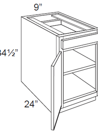 Single Door Base Cabinets - 9W x 34.5H, B09
