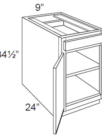 Cherry Shaker Single Door Base Cabinets - 9W x 34.5H, B09