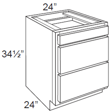 Cherry Shaker 3 Drawer Base Cabinet - 3DB24, 24W x 34.5H