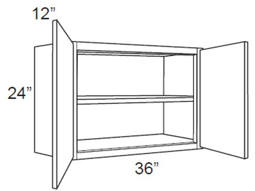 "Birch Shaker 24"" Deep Wall Cabinets - 36W x 24H x12D, W3624"