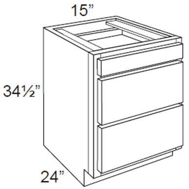 Birch Shaker 3 Drawer Base Cabinet - 3DB15, 15W x 34.5H