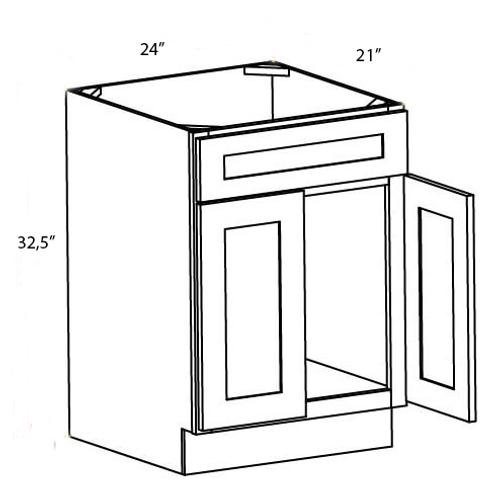 Bamboo Shaker Vanity Sink Base Cabinet - 24W x 32.5H, VSB2421