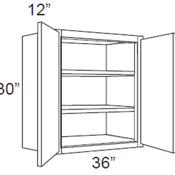"Birch Shaker 30"" High Double Door - 36W X 30H X 12D, 11, W3630"
