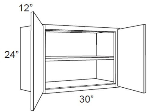 "Bamboo Shaker 24"" Deep Wall Cabinets - 30W x 24H x 12D, W3024"