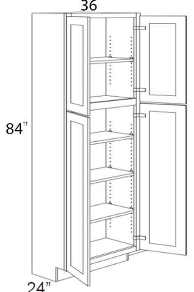 """Cherry Shaker 4 Door Pantry Cabinet 84""""H - 36W x 84H, UT3684"""
