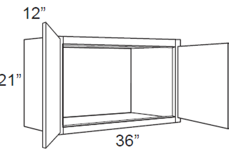 "Cherry Shaker 12"" Deep Small Wall Cabinets - 36W x 21H x 12D, W3621"