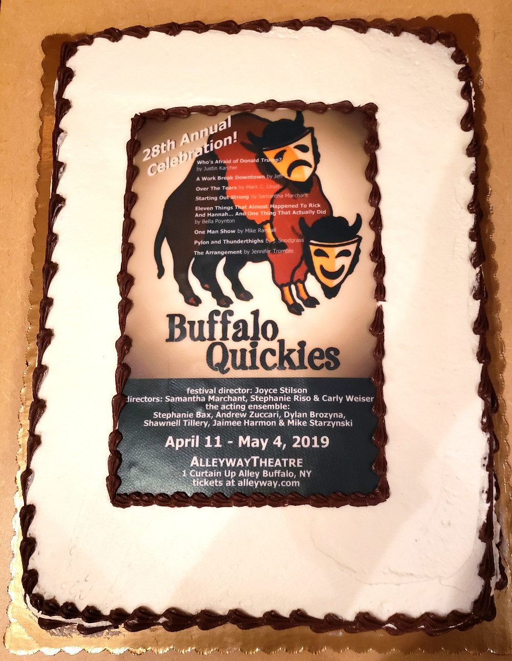 The Buffalo Quickies 2019 Cake at Alleyway Theatre