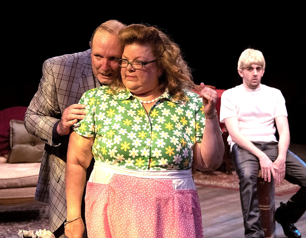 "Stan Klimecko, Kelli Bocock-Natale,and Anthony J. Grande as a closeted businessman, a lusty landlady, and a killer in ""Entertaining Mr. Sloane"" at Irish Classical Theatre Company"