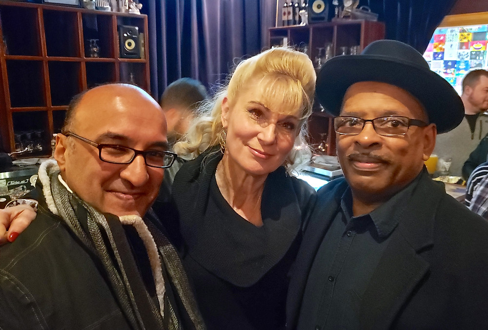 """Monish Bhattacharyya from the cast of """"The Kindness of Strangers,"""" with Lisa Ludwig from """"Jimmy Dean,"""" and """"Kindness of Strangers"""" playwright Mark Humphrey"""