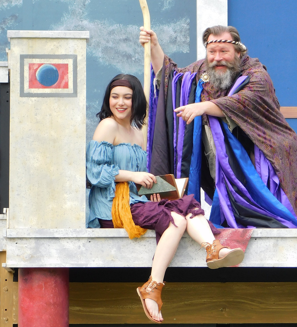 """It must be summer!  Weather permitting, """"The Tempest"""" opens this weekend at Shakespeare in Delaware Park. David Marciniak as Prospero  Christine Turturro as Miranda. PHOTO: Brendan Didio"""