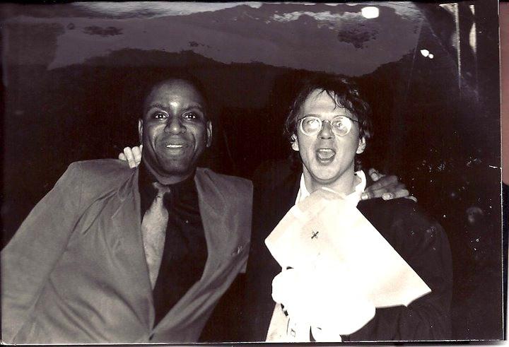"Tim White and Robert Waterhouse celebrate Buffalo Ensemble Theater's Artie Award win for ""The Dresser"" in 1991."