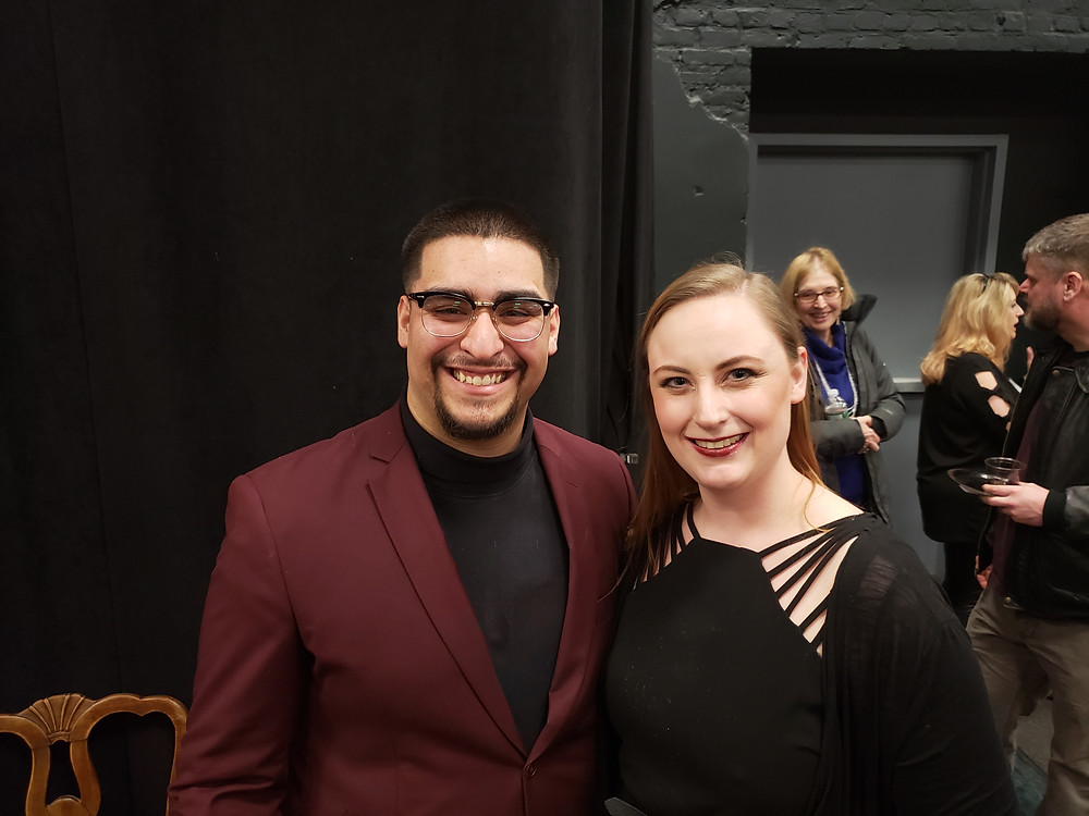 """Alejandro Gomez, who plays Oswaldo, and production stage manager Sarah Foote At the opening of """"Between Riverside and Crazy"""" at Road Less Traveled Theater in Buffalo"""