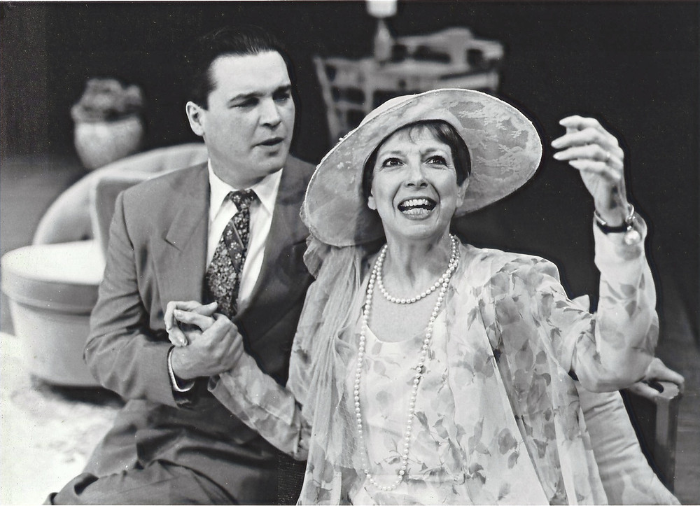 """Anne Gayley as Judith Bliss and Paul Todaro as Richard Greatham in Noel Coward's """"Hay Fever"""" during the Irish Classical Theatre's 2000-2001 season. Gayley won an Artie for her performance. Photo by Irene Haupt"""