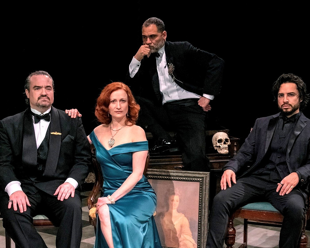 hamlet at irish classical theatre Matt Witten as Claudius, Kristen Tripp Kelley as Gertrude, Rolando Martin Gomez as the elder Hamlet's Ghost; and Anthony Alocer as the Danish prince