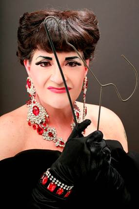 """Jimmy Janowski as Joan Crawford in the BUA production of """"Mommie Queerest,"""" opening this weekend"""