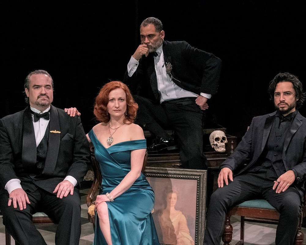 at Buffalo's Irish Classical Theatre Company Matt Witten as Clausius, Kristen Tripp Kelley as Gertrude; Rolando Martin Gomez as the Ghost; and Anthony Alcocer as Hamlet. (Unknown actor as Yorick)