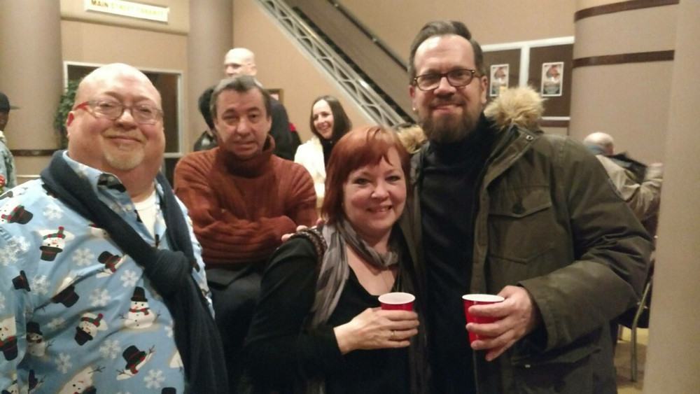 """Actors Christopher Standart, Timmy Finnegan, Eileen Dugan, and Jim Cichocki at Buffalo Theater, BUA, for the opening of """"The Fabulous Brightness of Leonard Pelky"""""""