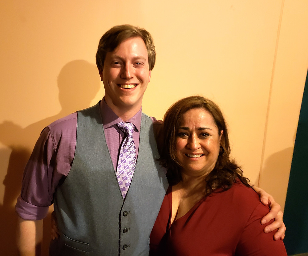 Steve Brachmann and Maria Pérez-Gómez. Steve plays several roles and Maria served as playwright, actor, and director