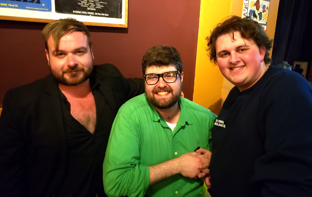 Playwright Justin Karcher, with actors Dylan Brozyna and Andrew Zuccari