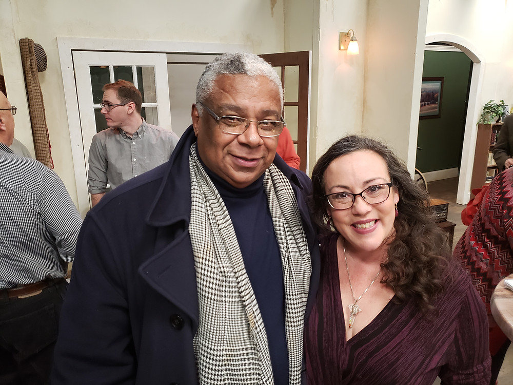 """Attorney Leroi C. Johnson, whose law office sponsored the production with marvelous Lisa Vitrano, who plays Detective O'Connor At the opening of """"Between Riverside and Crazy"""" at Road Less Traveled Theater in Buffalo"""