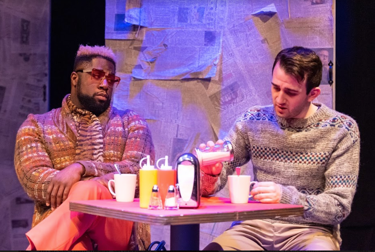 "Dudney Joseph, Jr. as Belize and Tony Grande as Louis in ""Angels in America"""
