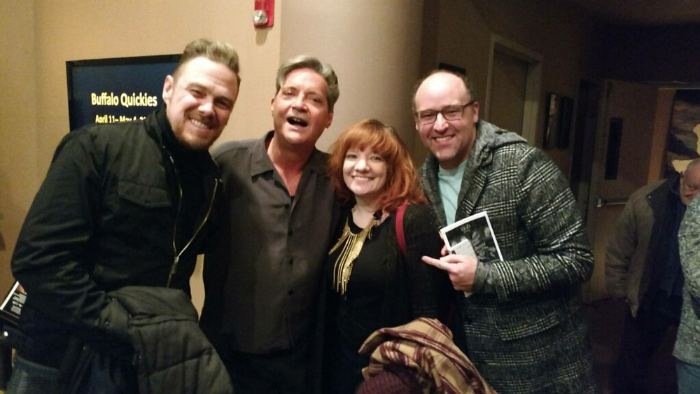 """Chris Kelly, the fabulously bright Jimmy Janowski, actor Maria Drozd Kreutinger, and actor Sean Murphy, at Buffalo theater, Buffalo United Artists for the opening night of """"The Fabulous Brightness of Leonard Pelky"""""""