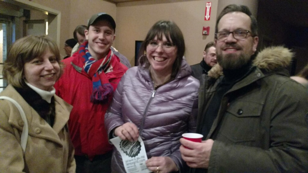 """Alleyway staff member Stephanie Riso with Jonathan Marchant, fellow staff member Samantha Marchant, and Alleyway resident costume designer James Cichocki at the opening night of """"The Fabulous Brightness of Leonard Pelky"""" at BUA - Buffalo theater"""