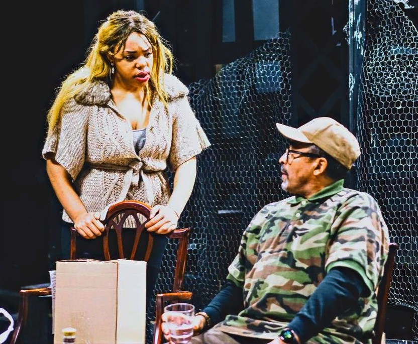 "Aqueira Oshun as Fay and Andy Findley as Dad in Charly Evon Simpson's ""Jump"" at the Paul Robeson Theatre"