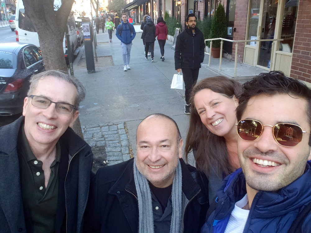 """On 10th Avenue with Anthony Chase, Javier Bustillos, Donna Hoke, and Buffalo's Alan Trinca who will soon appear in """"MsTrial"""" at New World Stages Off-Broadway"""