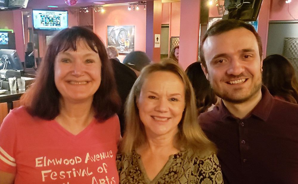 Mary Moebius, who plays Mrs. Morris; Lisa HInca, who plays Rose Benjamin; and Jeremy Kreuzer, who plays David Benjamin standing in a bar