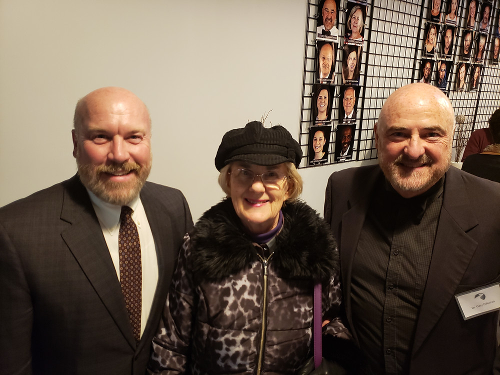 """Craig Coyne, Ann Moot, and Gary DiNezza At the opening of """"Between Riverside and Crazy"""" at Road Less Traveled Theater in Buffalo"""