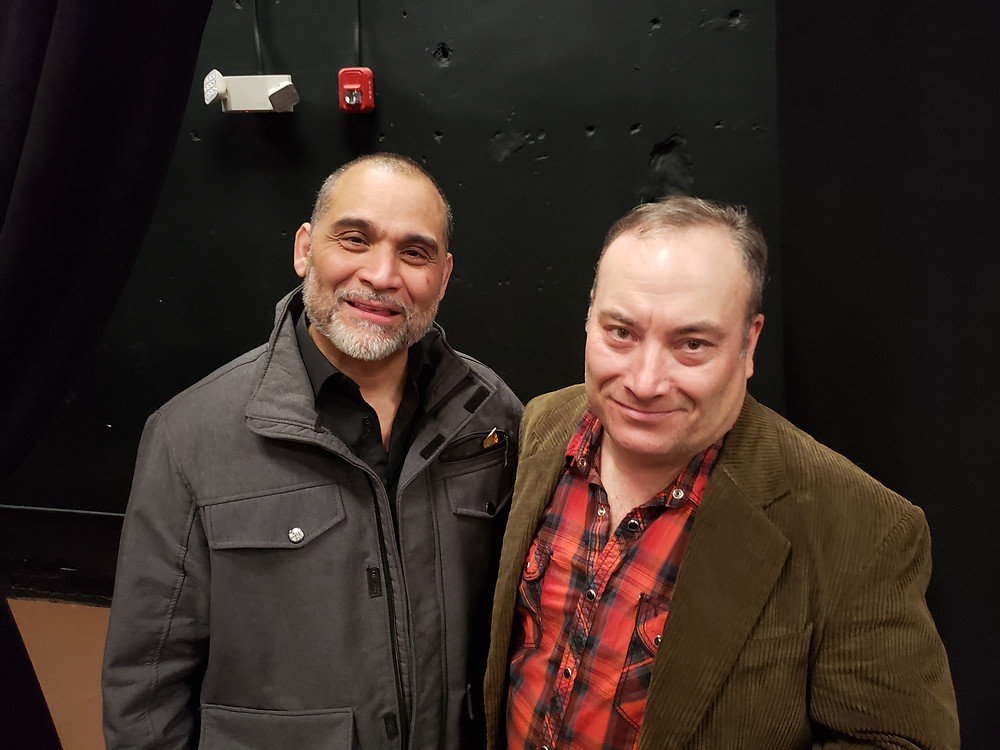 """Actor Rolando Gomez, and Dave Mitchell, who plays Lieutenant Caro At the opening of """"Between Riverside and Crazy"""" at Road Less Traveled Theater in Buffalo"""