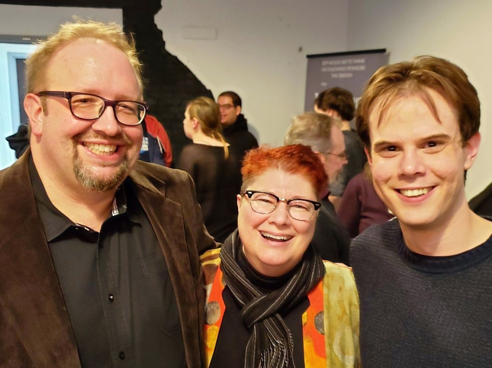 """Scott Behrend, Diane Almeter Jones, and Dan Urtz at the opening night party for """"Hand to God"""" at The Road Less Traveled Theatre in March 2020."""