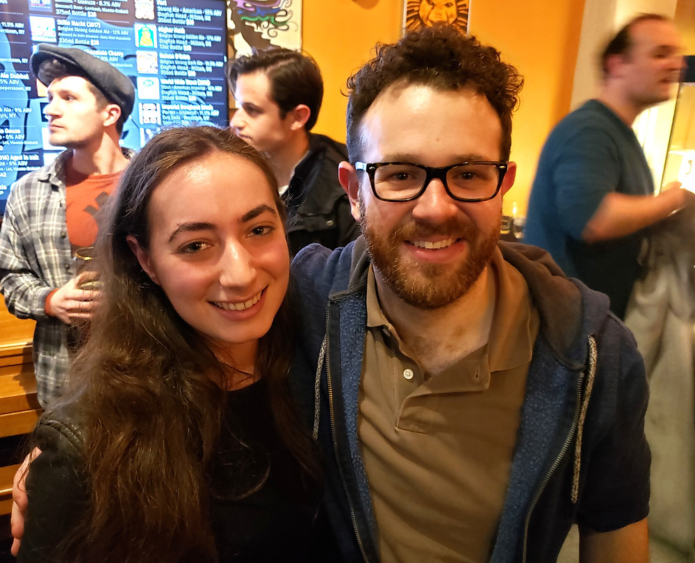 ICTC Assistant Stage Manager Jessie Miller with Adam Yellen who plays one of dramatic literature's greatest best friends, Horatio, in Hamlet at Matinee tavern in Buffalo, New York