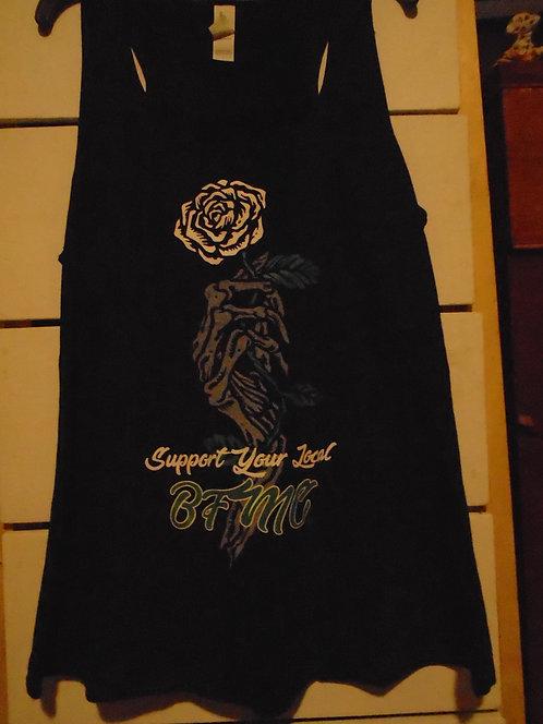 Skeleton hand rose tank