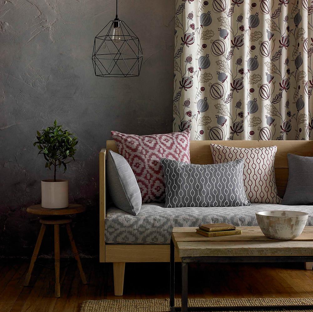 Curtain, sofa, cushions
