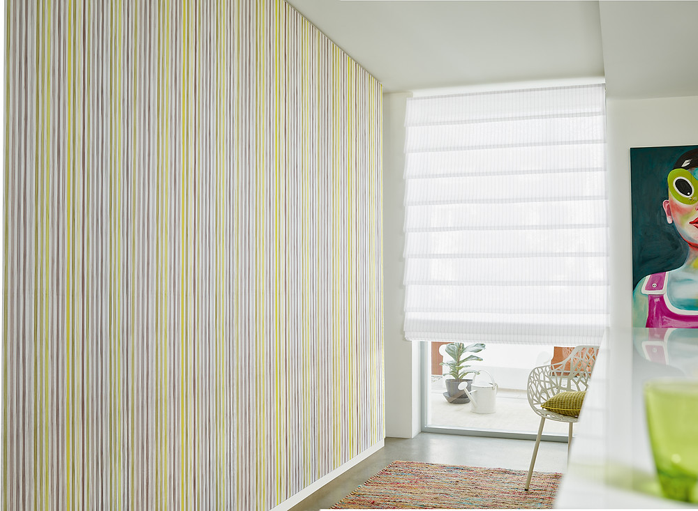 Custom-made Roman blind and curtains, sheer blind