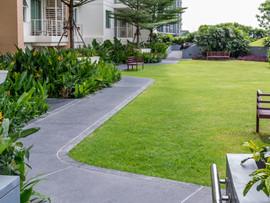 สวนบนชั้นดาดฟ้าที่ทันสมัยด้วย pathwayin_