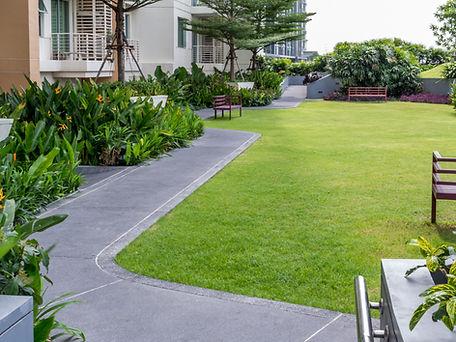 Moderne tuin op het dak met pathwayin_mm