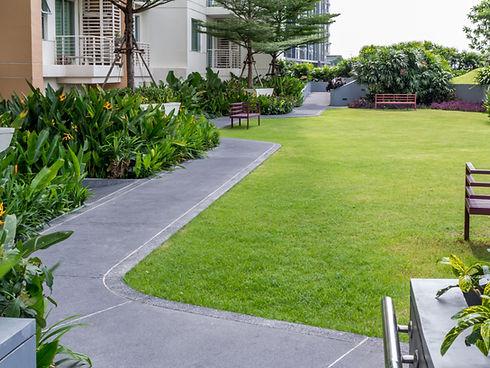 Moderna giardino sul tetto con pathwayin