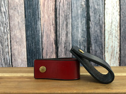 Red and dark havannah Sedgwicks leather key fobs