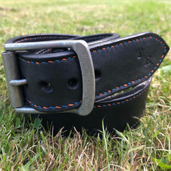 Personalised belt with antique nickel buckle and alternate coloured stitching