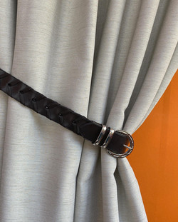 Bespoke curtain tieback in a lace rein style with Nickle metalwork