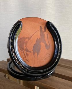 Keepsake horseshoes and pyrography portrait keepsake with plaited horsehair insert.