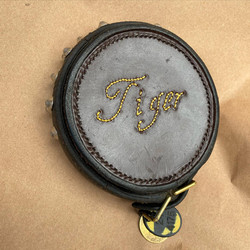 Traditionally box stitched hanger for dog collar keepsake