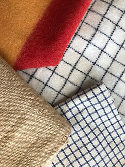 Textiles, hessian, collar check, newmarket wool and tattersalls check