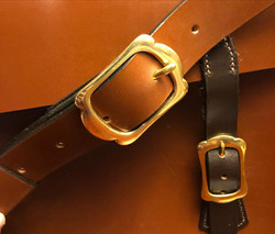 Close up of strapping on satchel bag