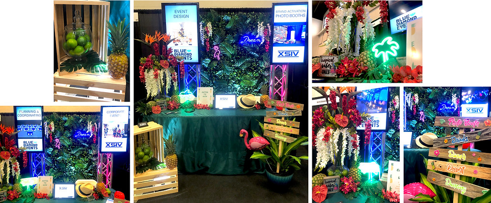 """Trade Show Booth, Greenery Wall, Tropical, Palm Tree, flamingo, dream, neon sign, signage, 42"""" flat screen, tropical arrangements, limes, pineapple, decor, event design, 6ft totems, wooden crates, custom, decor, rentals, fedora, event registration, palm leaves, banana leaves, blue diamond events, XSIV Entertainment, Columbia, MO, Showcase CoMo, Columbia Chamber of Commerce"""