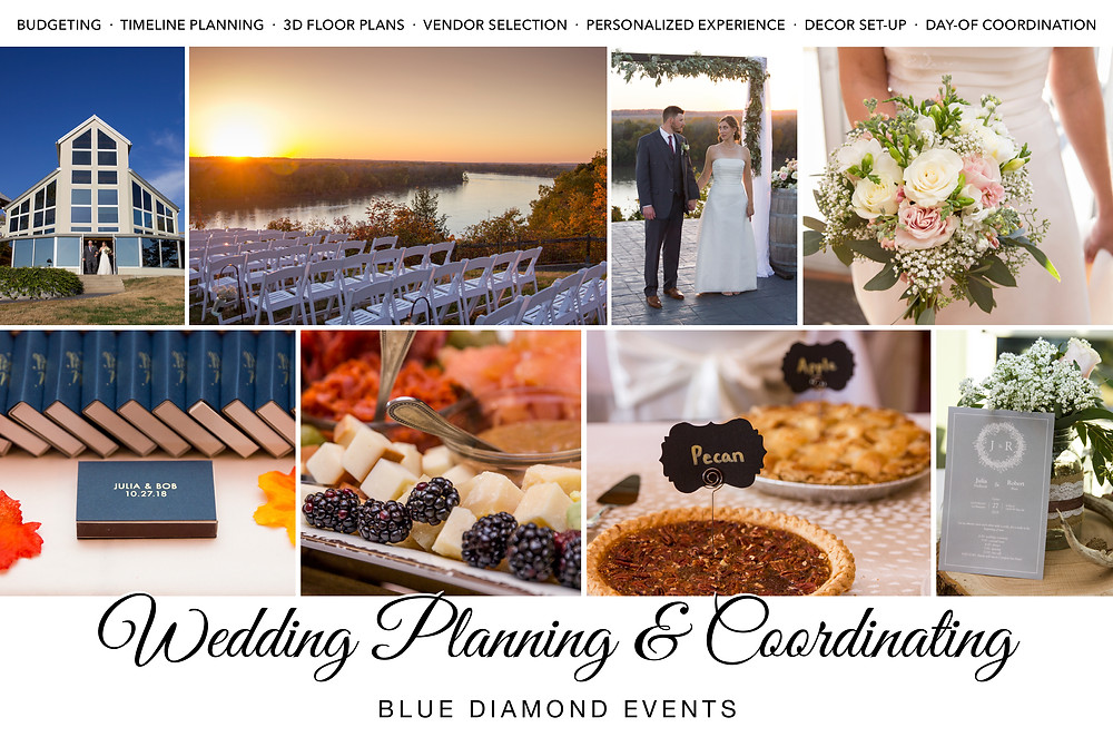 Wedding, Planning, Coordinating, Planner, Coordinator, Blue Diamond Events, Columbia, MO, Weddings, Decor Setup, Timeline Planning, Floor Plan, Vendors, Day-Of Coordination